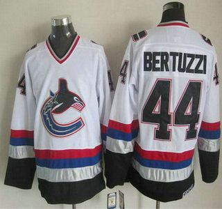 Vancouver Canucks Jersey 44 Todd Bertuzzi 1997-98 White CCM Vintage Throwback Jerseys