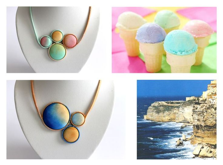 Hand dyed silk jewelry by Koria Design  https://www.etsy.com/listing/179147419/hand-painted-silk-statement-necklace?ref=related-0 https://www.etsy.com/listing/179051415/hand-painted-silk-statement-necklace?ref=related-3 www.facebook.com/koriadesign  (source of inspirational photos:  http://www.jarlef.no/Laetitia_Casta/Sub_Pages/Fam/corsicaa.htm http://2nukollection.blogspot.hu/2012/05/pastel-ice-cream-colours.html)