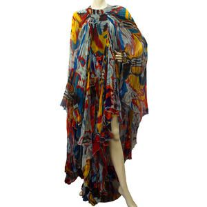 Roberto Cavalli Multi-color Asymmetrical Hem Kaftan Dress Sz 40