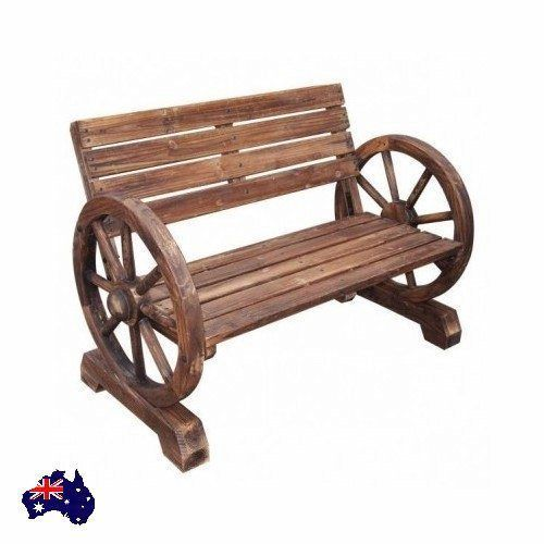 2 Seater Outdoor Garden Wood Park Bench Seat Balcony BBQ/Patio/Deck Wheel New