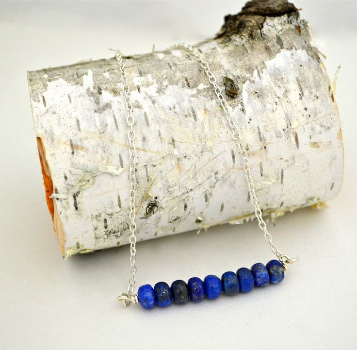 Genuine Blue Lapis w/ Gold Fleck Bar Necklace on Silver Chain by DizzleDesigns on Etsy