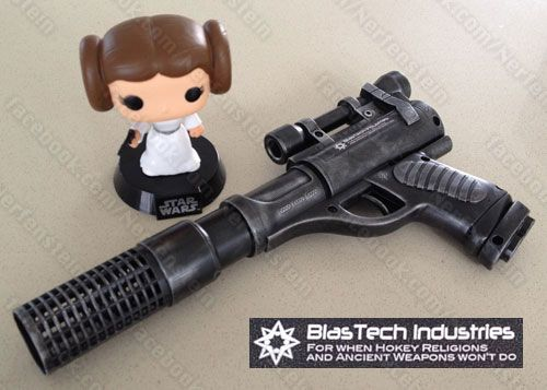 Star Wars blaster mod. Made the barrel extension from a coupler and hair-roller