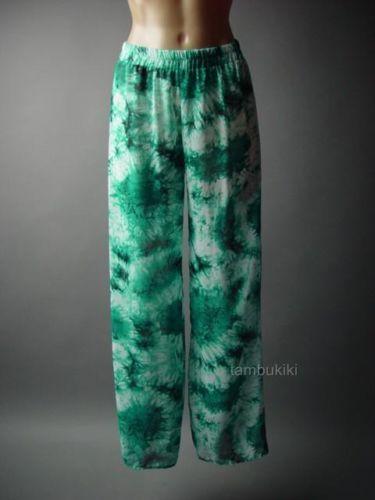 Tie-Dye-Design-Sheer-Chiffon-Surf-Ocean-Beach-Resort-Wide-Leg-86-mv-Pants-S-M