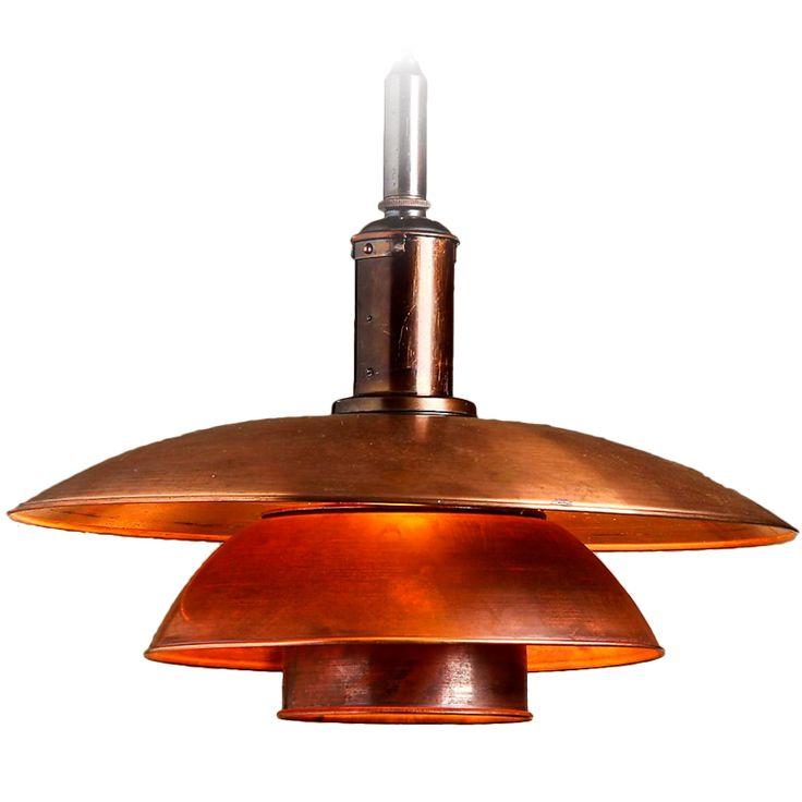 Rare Copper Ceiling Light PH4, Poul Henningsen for Louis Poulsen