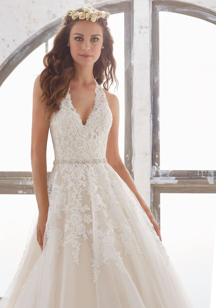 Fabulous  Designer Wedding Dresses and Bridal Gowns by Morilee Lace and Tulle Wedding Gown with Diamant Beading Cascade Down the Halter Neckline and Bodice