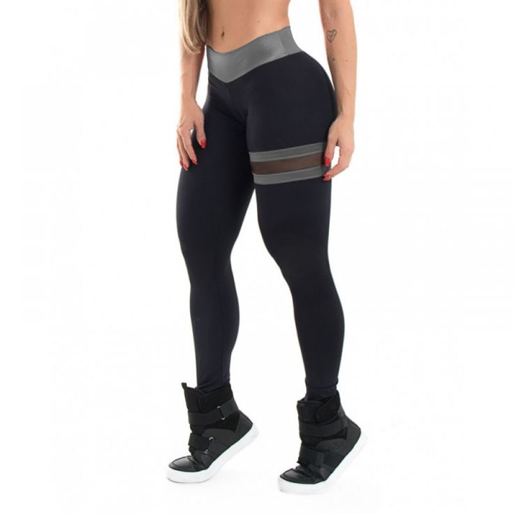 SVOKOR Push Up Leggings Women Gothic Fitness Clothing Workout Mesh High Waist Pants Female Breathable Patchwork Sportswear 1