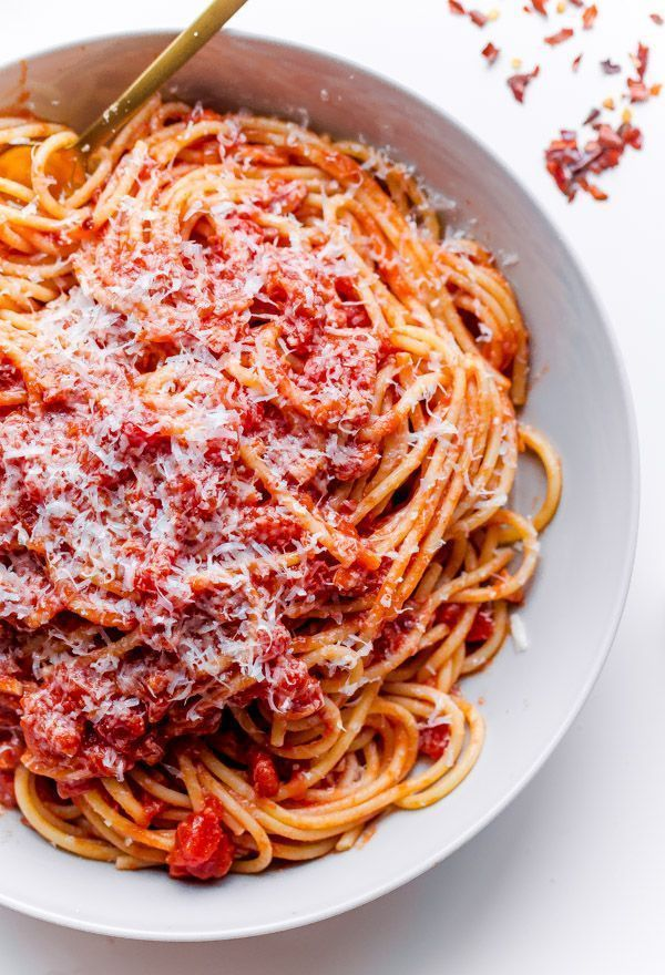 Classic Spaghetti All'Amatriciana - Homemade tomato sauce with pancetta, onion, garlic, and red pepper flakes!