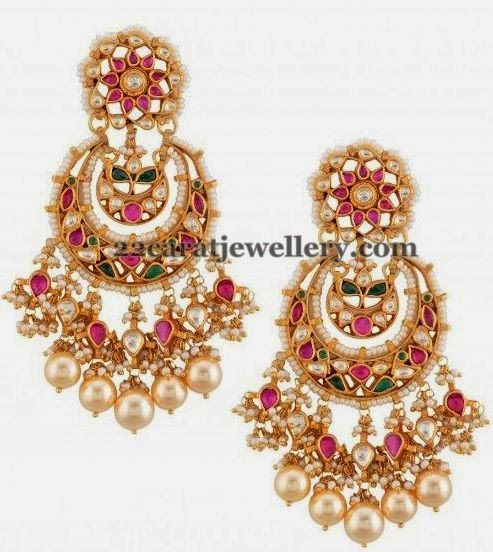 Jewellery Designs: kundan earrings