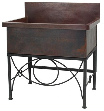 Utility sink from Sierra Copper would look great in the powder room and double as a place to bathe the dog.