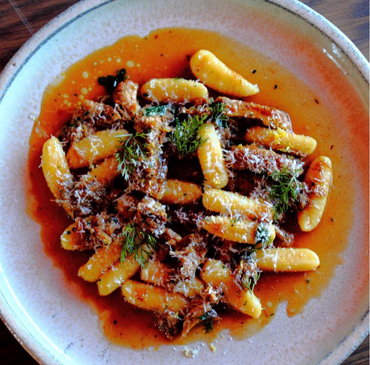 Gnocchi with slow cooked pork cheeks, onions and pecorino - Massimo Mele