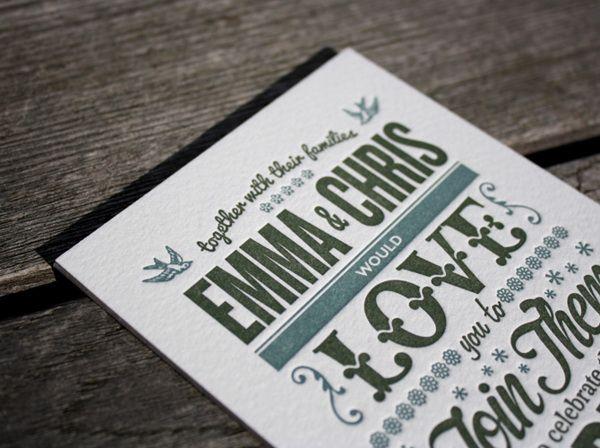 Letterpress Wedding Invitation by Ello Mate!  www.ellomate.co.uk
