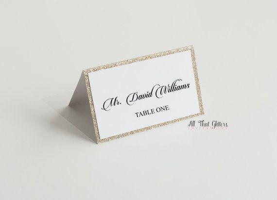 50 Glitter Name Cards Glitter Table cards by ATGInvitations
