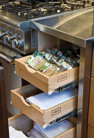 Sharon Kleinman's #design included these pull-out #shelves to keep things orderly. #kitchen #interior