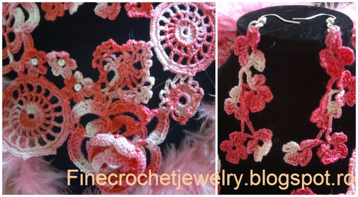 Crocheted earrings ans pearl necklace
