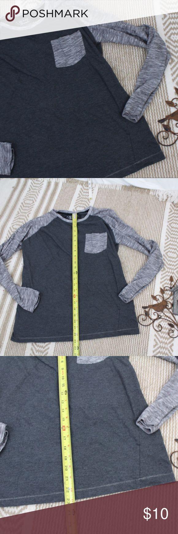 "Broken Threads Medium Long Sleeve Henley Shirt Broken Threads Medium Long Sleeve Henley Shirt pocket gray black  armpit to armpit 17"" length 23"" Broken Threads Shirts Tees - Long Sleeve"