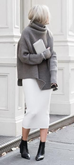 turtle neck knit. pencil midi skirt.