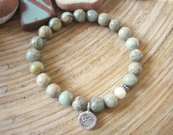 Yoga Bracelet - Silver Om Charm Mala Beads Bracelet, Aqua Terra Jasper and Freshwater Pearl, Boho Spiritual Jewelry via Etsy