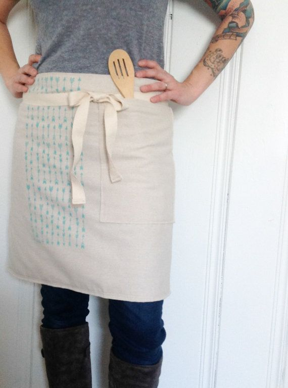 Aqua Arrows Cafe Bistro Style Apron Teal Mint Baking and Utility Half Apron Eco Friendly Unbleached Cotton Screen Print Kitch Katniss Pastel...