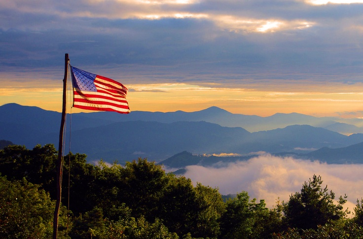American Flag Flying Over The Great Smoky Mountains In