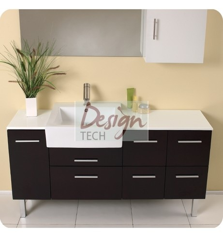 57 Quot Modern Solid Oak Bathroom Espresso Vanity Ceramic Sink