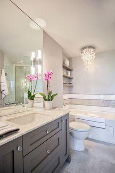 Guest bathroom  Madison Taylor Design - bathrooms - white and grey bath, white and grey bathroom, ceiling height mirror, bathroom mirror, vanity mirror, cei...