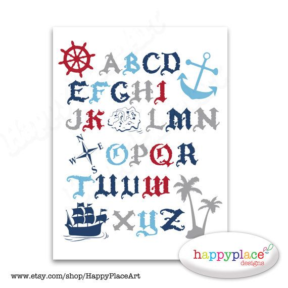 Pirate Alphabet Wall Art for download. Large size - up to 30x40 inch in Red, White, Blue and Grey. Suit boys pirate bedroom, or nursery.