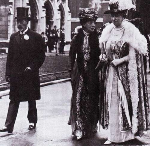 HM King George V, HM Queen Alexandra and HM Queen Mary leaving a church