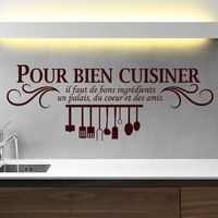 French Cuisine Wall Stickers Pour bien cuisiner Vinyl Wall Decals Wallpaper Mural Wall Paper Art Kitchen Tile Decal Home Decor