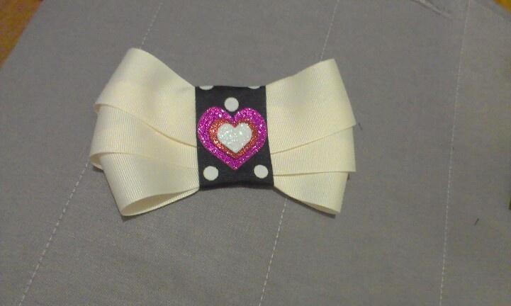 Polka Dot Hearts Bow $8