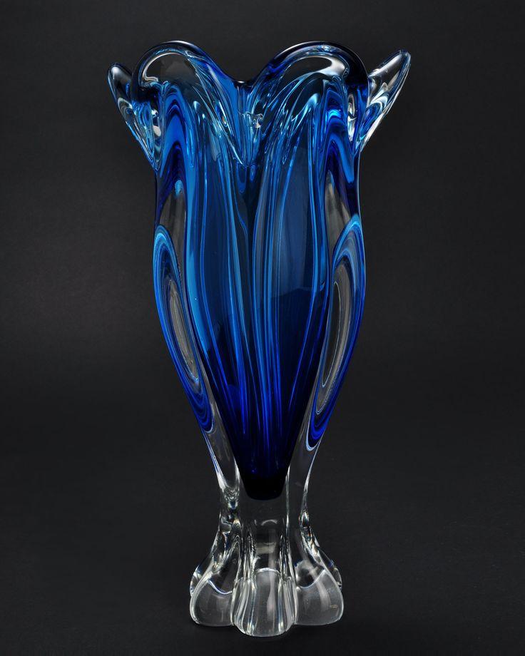 Vintage Cobalt Blue Bohemia Hand Made Art Noveau Crystal Vase