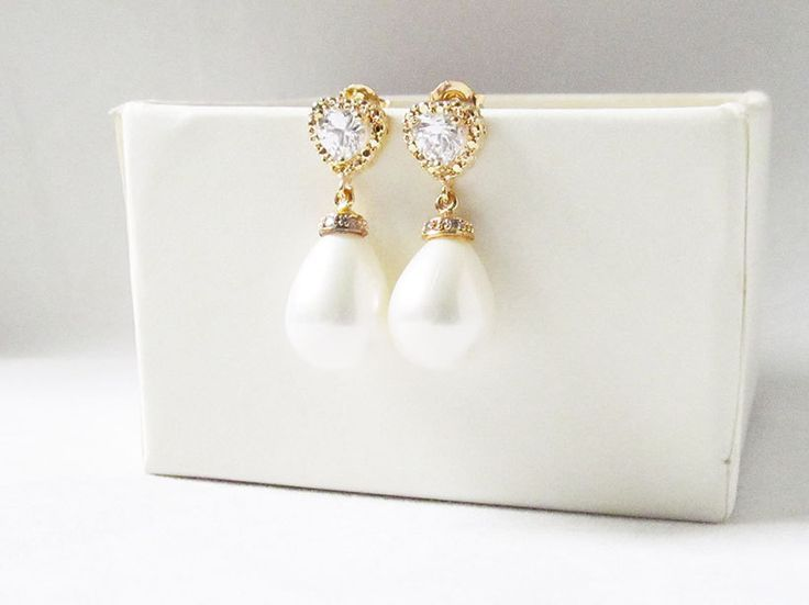 gold pearl drop earrings teardrop wedding bridal post earrings - pinned by pin4etsy.com