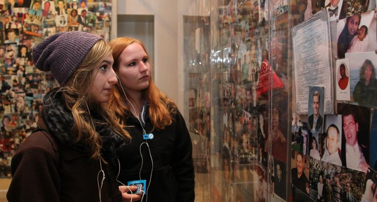 Students on Audio Tour in 9/11 Tribute Center