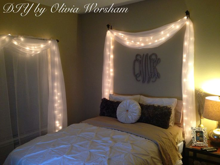 String lights with white sheer drapes