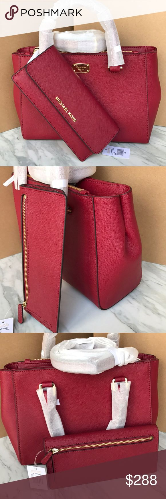 🍒🍒mk Satchel set🍒crossbody/Kellen cherry color Both bag and wallet authentic brand new with tags. Cherry color gold hard wear. Purse strap removable . Kellen bag style both 100% saffiano leather. 10x7.5x3.5. Wallet has zip pocket in back Michael Kors Bags Satchels