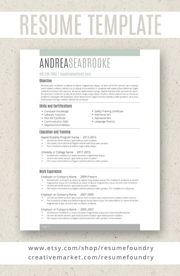 Student Resume Template for Word, 13 Page Resume + Cover