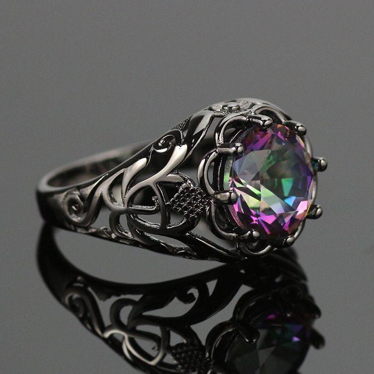 Mystic Topaz Black Gold Filled Ring