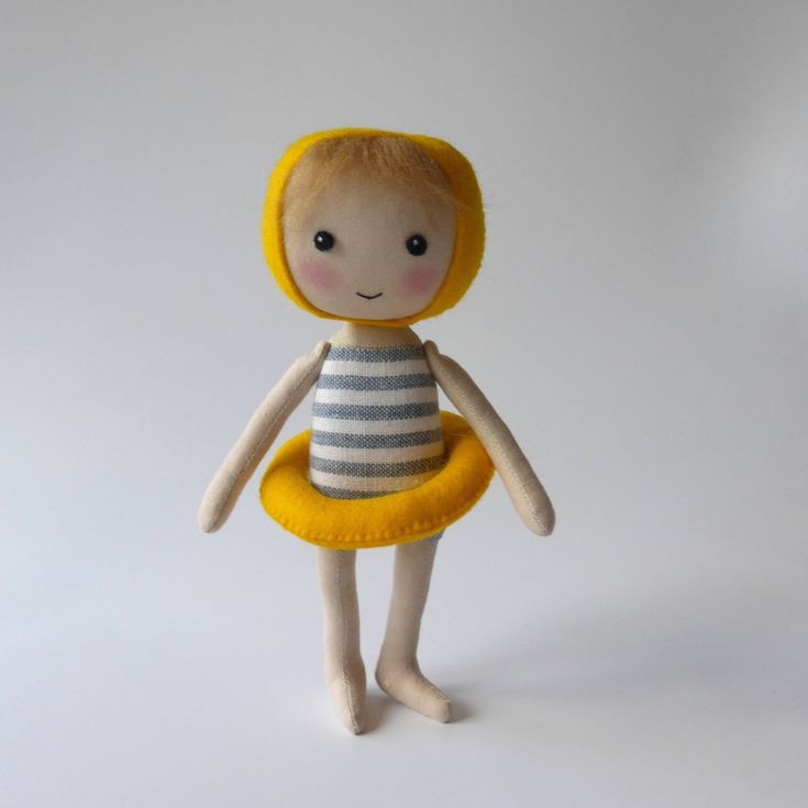 rag doll in swimming costume, swimming figure, seaside decor doll, nautical decor doll, quirky doll, unique gift by Lybo on Etsy