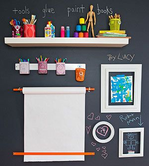 Unplugged Play Spaces: Chalkboard paint wall. A metal strip is the perfect home for magnet-backed containers of markers, crayons, and chalk. The tea-tin holders can be taken down and stuck back up as desired.