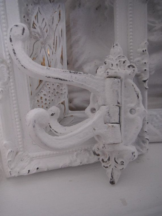white victorian style wall hook swivel arm shabby by ShabbyRoad, $13.00