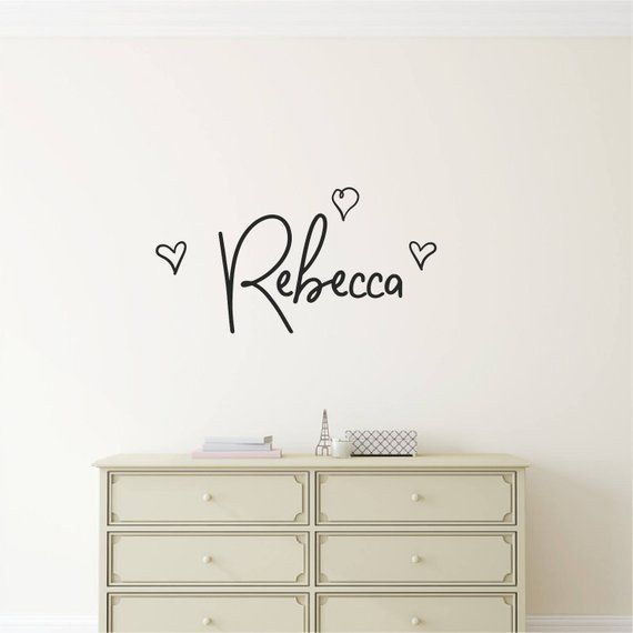 Personalized Girls Name Name Wall Sticker Hearts Wall Decal Personalised Name Room Decor Custom Vinyl Wall Art Nursry Kids Room Play Room Name Wall Stickers Heart Wall Decal Custom Vinyl Wall