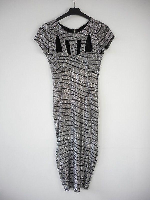 b6f1879f29d2da Sukienka srebrno czarna imprezowa midi r. 34 / 36 - vinted.pl ...