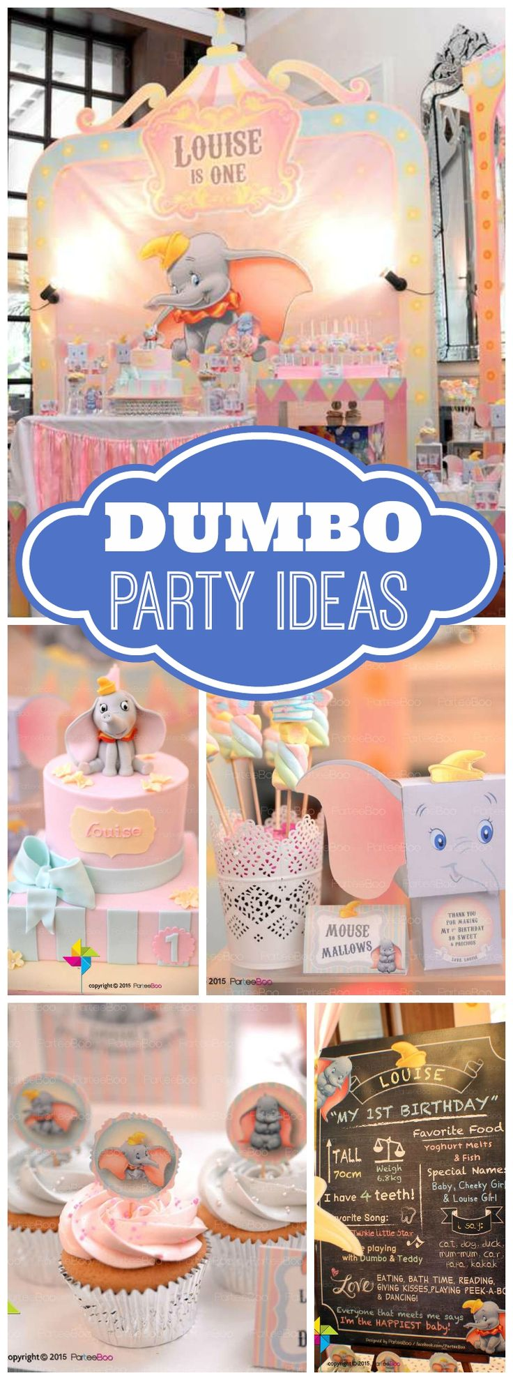 How fun is this Dumbo party in soft pastel colors? See more party ideas at CatchMyParty.com!