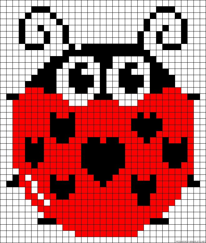 Ladybug Pattern Crochet Knit Stitch Charts And