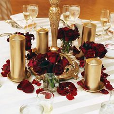 Gold and deep red centerpiece