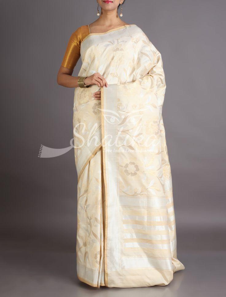Sonal Bloom In Mute Gold Pristine Cream Banarasi Brocade Silk Saree