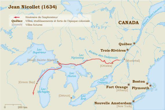 Jean Nicollet 1634.  Tout le territoire montré, ici, faisait partie de la NOUVELLE-FRANCE de 1608 à 1763.   C'est par le Traité de Paris que la France a cédé les territoires à l'Angleterre. http://www.museedelhistoire.ca/musee-virtuel-de-la-nouvelle-france/les-explorateurs/jean-nicollet-1634/