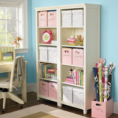 Two bookshelves for craft storage and organization. Organize. Bookcase. Bookshelf. DIY. Simple. Neat. Functional. For the home.