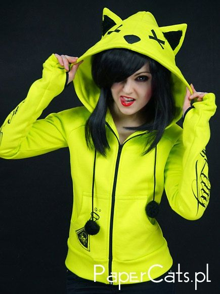 Neon cat hoodie ears poison toxic kawaii cyber goth punk