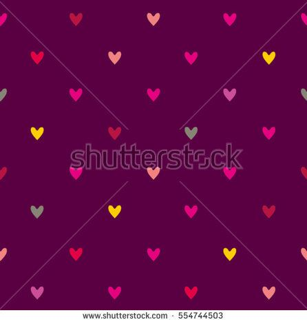 Seamless pattern with little hearts on a dark purple background.