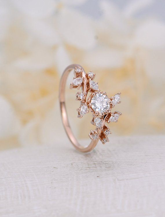Moissanite engagement ring Diamond Cluster unique rings solid rose gold ring Delicate leaf wedding women Promise Anniversary Gift for her – Rings
